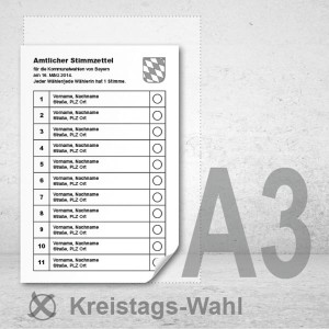 Stimmzettel Kreistagswahlen drucken Musterstimmzettel A3