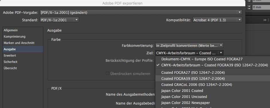 Indesign PDF X1a Ausgabeprofil