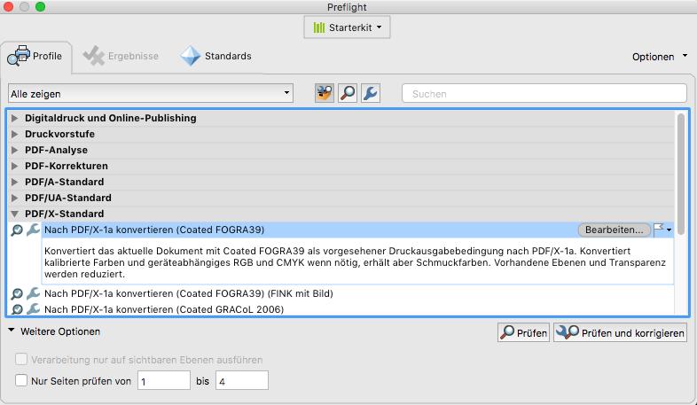 Indesign PDF X1a Preflight Datencheck