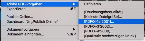 Indesign PDF X1a schreiben