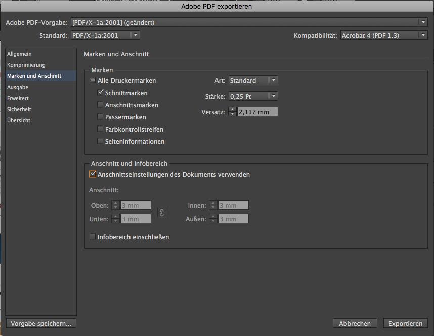 Indesign PDF X1a schreiben step2 Schnittmarken Anschnitt